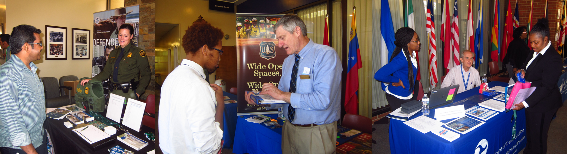 Collage of government recruiters speaking with attendees of a FAPAC career fair
